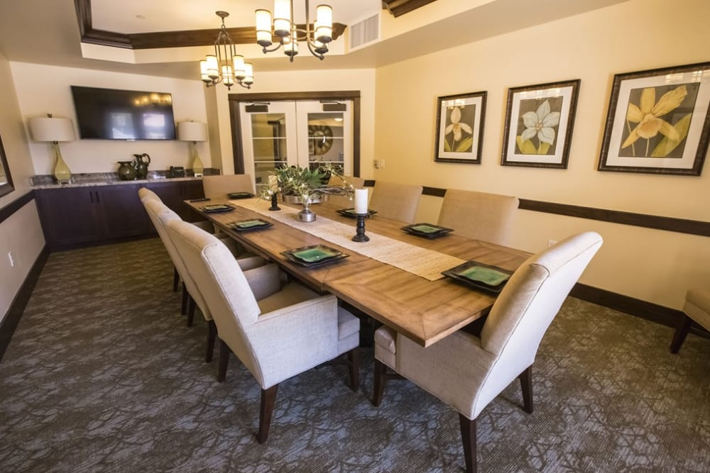 A dining room at The Pointe at Summit Hills in Bakersfield, California.