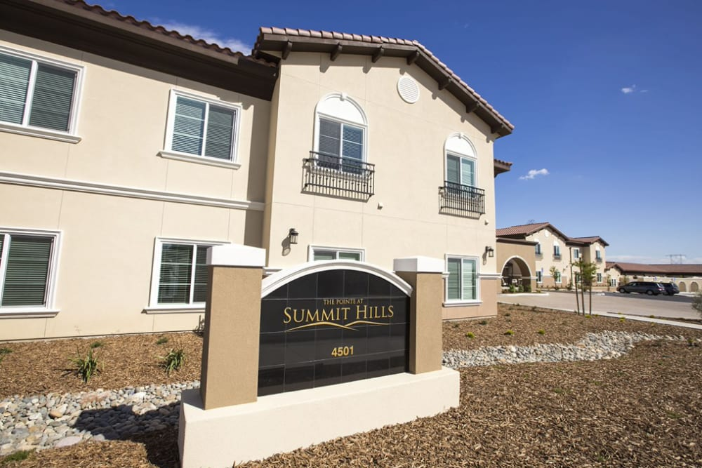 Outside of main building at The Pointe at Summit Hills in Bakersfield, California.