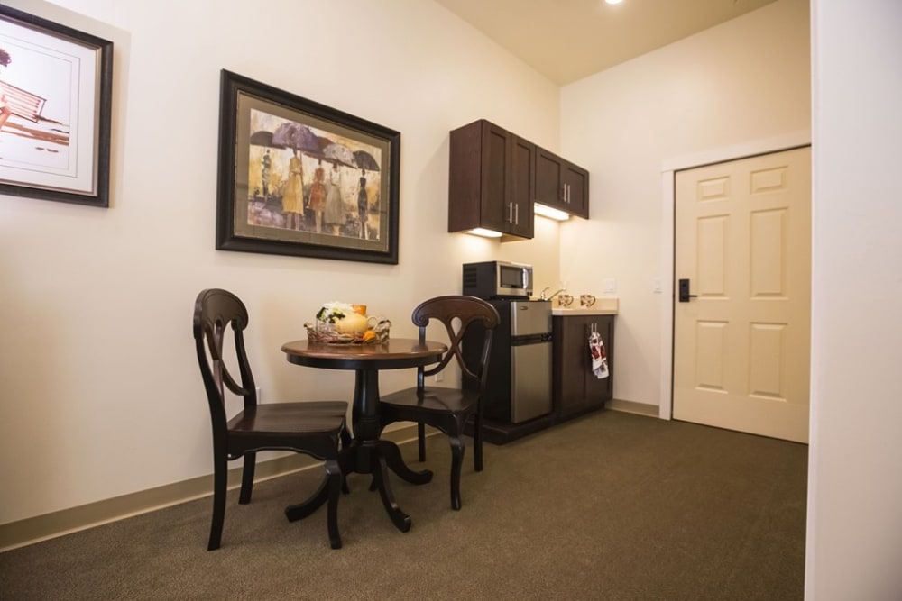 Resident kitchenette at The Pointe at Summit Hills in Bakersfield, California.