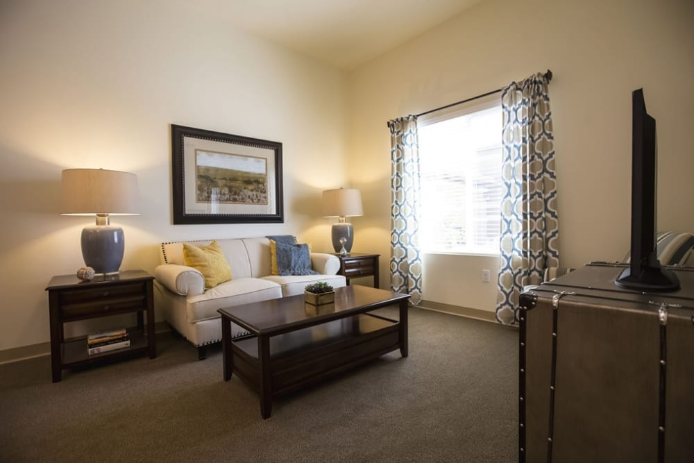 Resident living room at The Pointe at Summit Hills in Bakersfield, California.