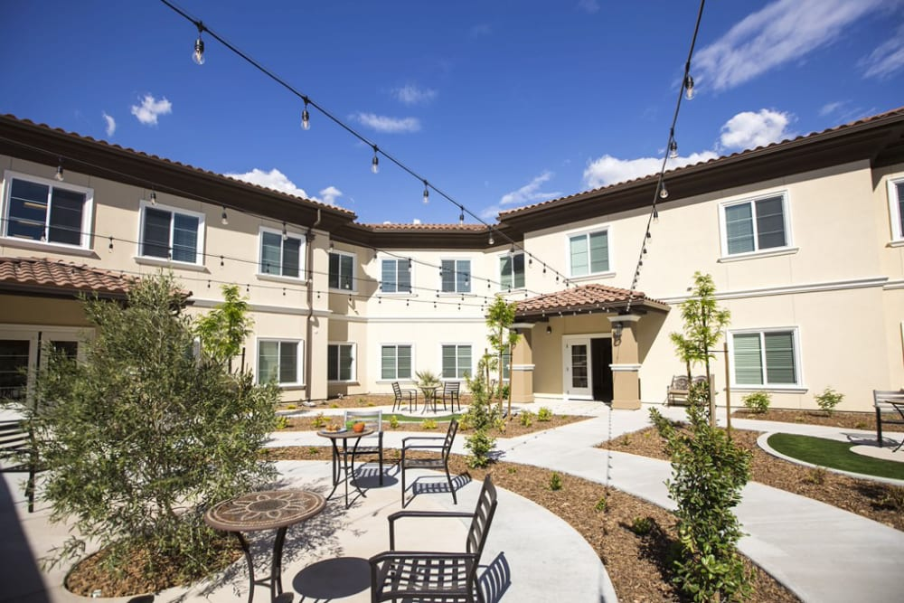 Outdoor seating at The Pointe at Summit Hills in Bakersfield, California.