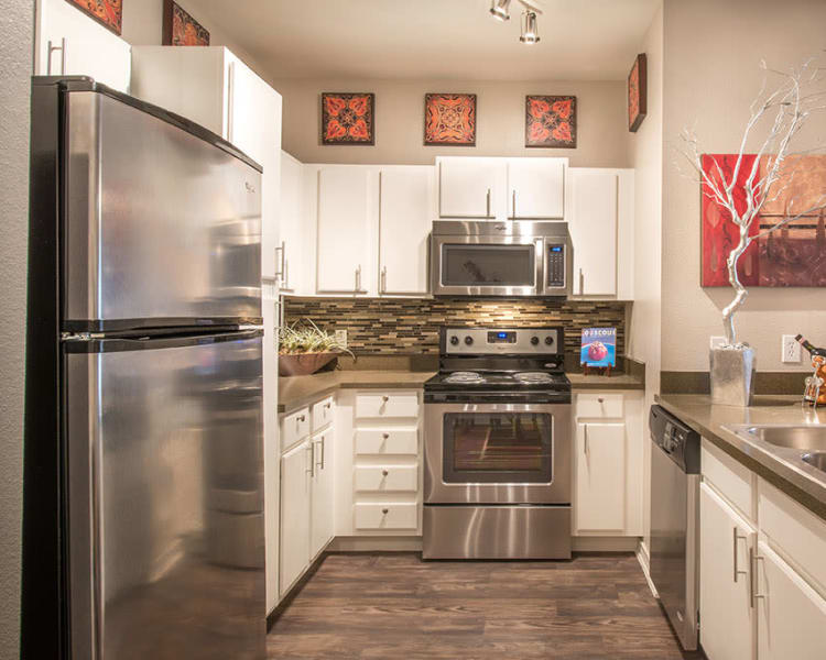 Fully equipped kitchen with stainless-steel appliances at Archer Stone Canyon in San Antonio, Texas