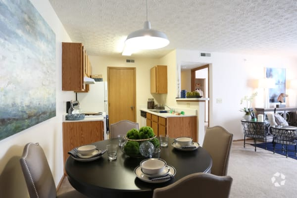 Dining room and kitchen at Enclave at Albany Park in Westerville, Ohio