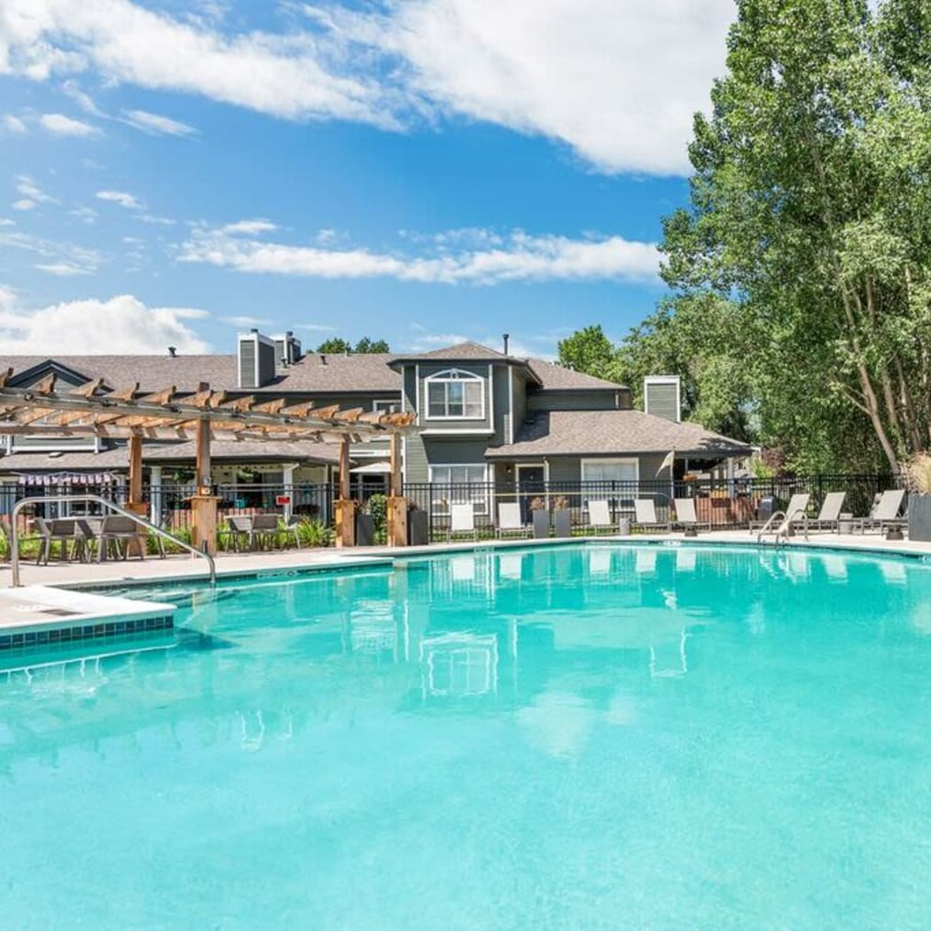 Sparkling swimming pool at TAVA Waters in Denver, Colorado