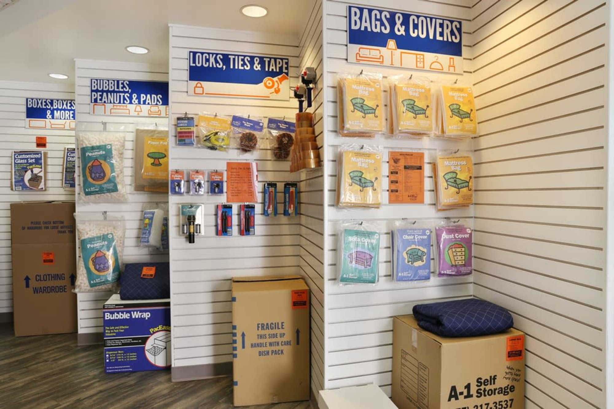 Packing and storage supplies at A-1 Self Storage in Torrance, California