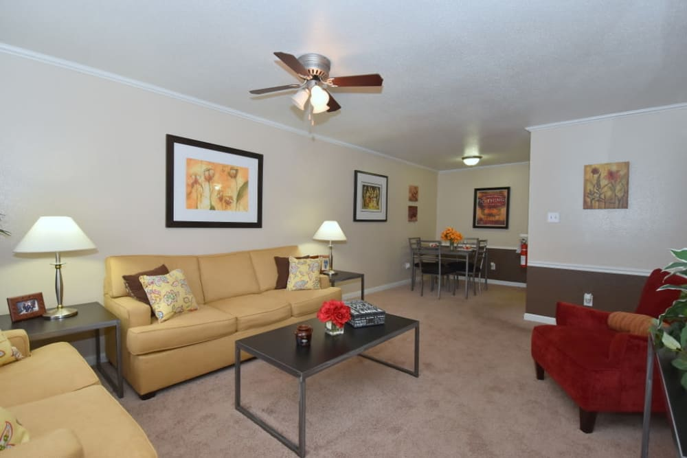 Bright living rooms at Falls of Maplewood Apartments