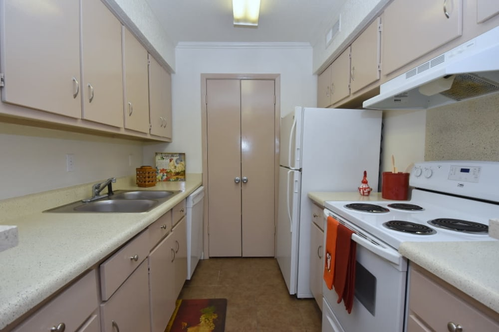 Galley kitchen at Falls of Maplewood Apartments