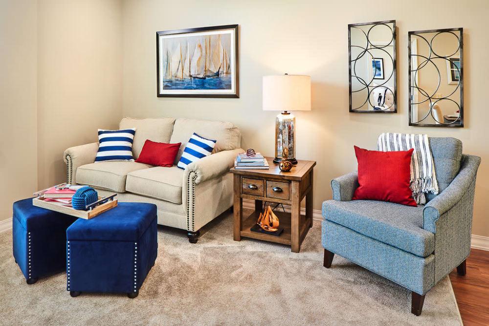 A cozy seating corner at Anthology of Overland Park in Overland Park, Kansas