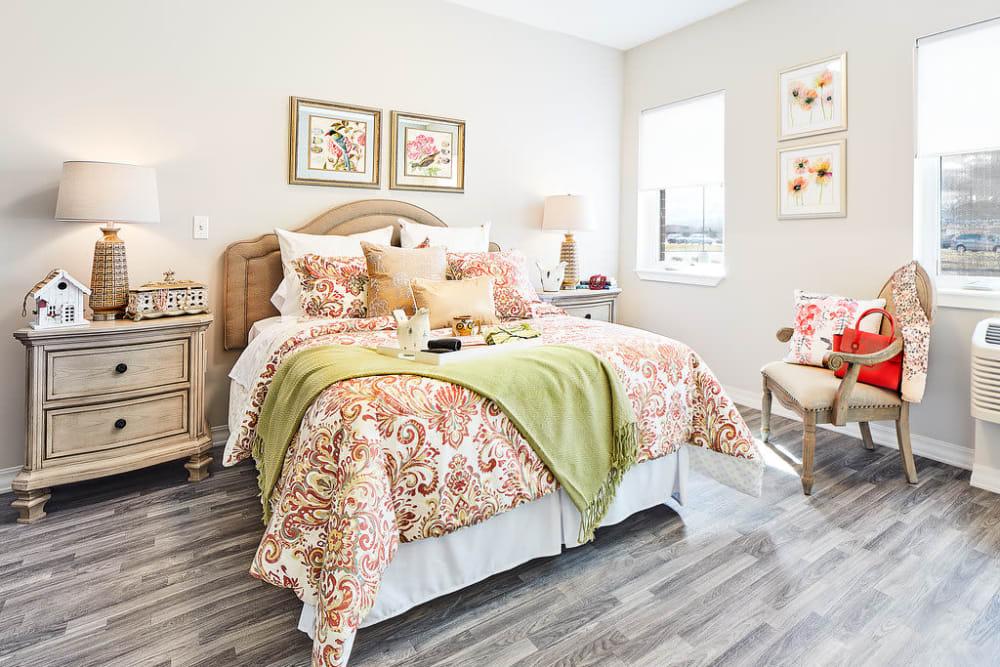 Resident bedroom with lots of natural light at Anthology of South Jordan in South Jordan, Utah