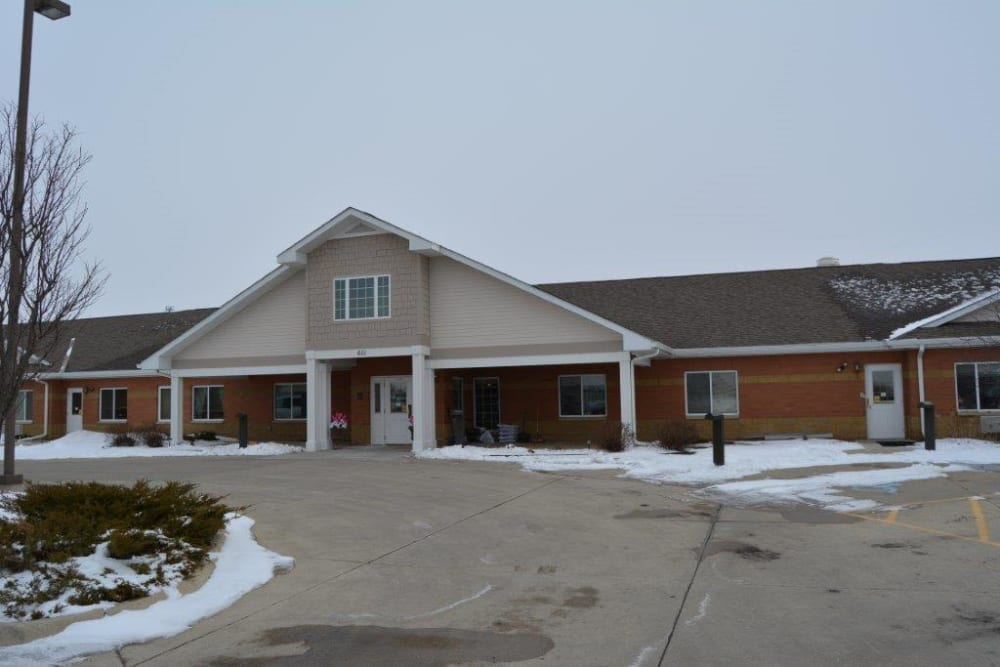 Driveway and main entrance to Courtyard Estates at Hawthorne Crossing in Bondurant, Iowa.