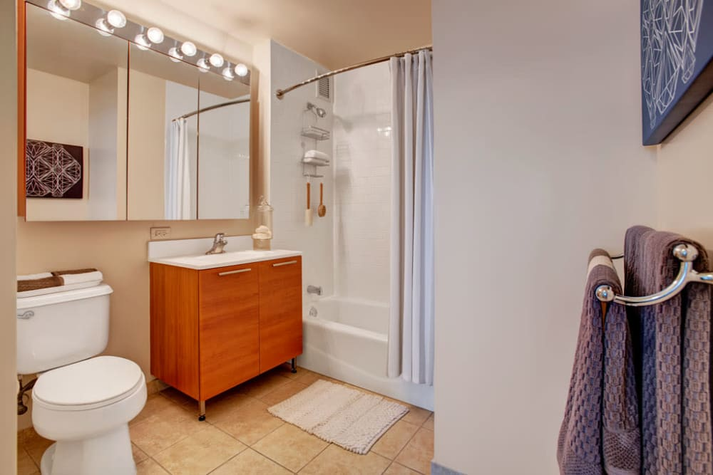 Bright bathroom at Skyline New Rochelle in New Rochelle, New York