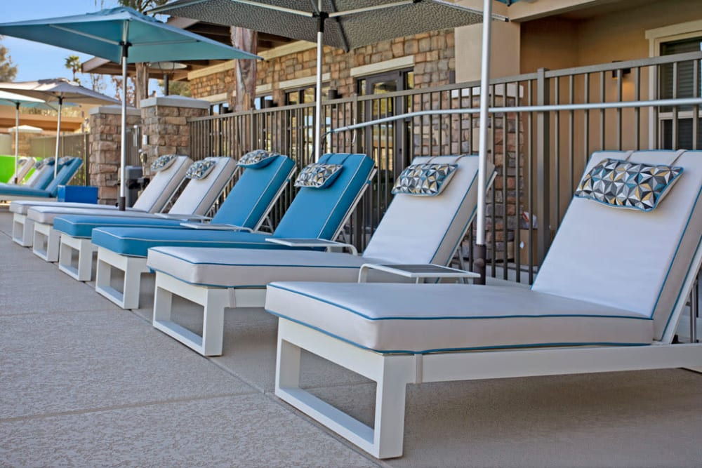 Lounge chairs at Luxe Scottsdale Apartments in Scottsdale, Arizona