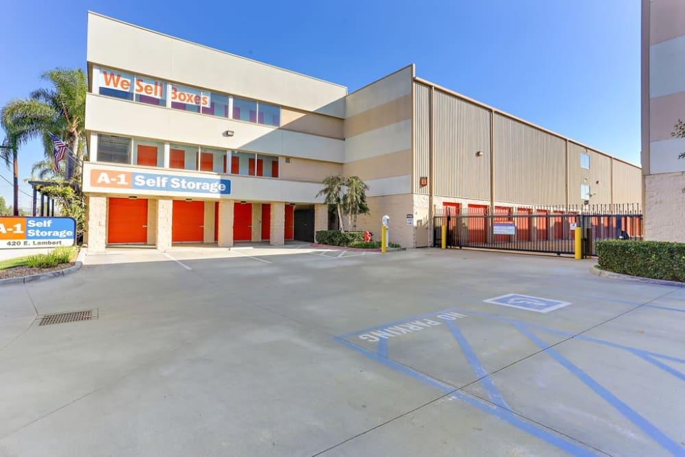 The front entrance to A-1 Self Storage in La Habra, California