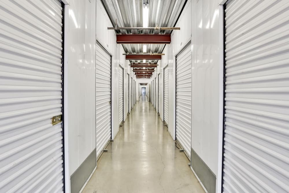 A row of indoor storage units at A-1 Self Storage in San Jose, California