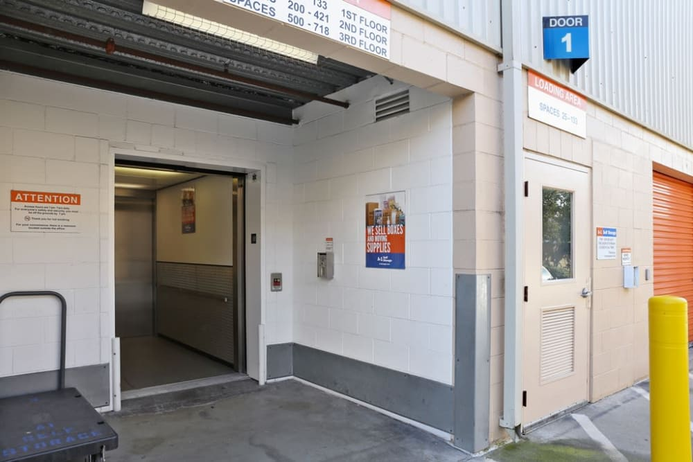 The freight elevator with outside access at A-1 Self Storage in Torrance, California