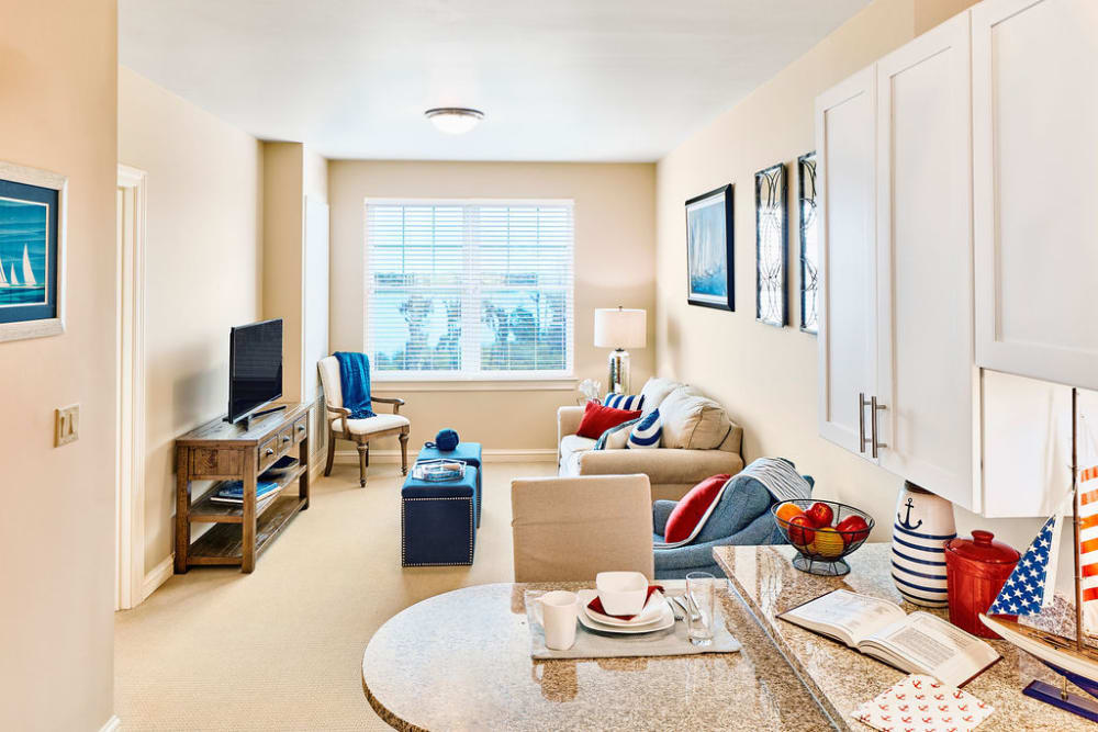 Apartment living room at Azpira at Windermere in Windermere, Florida