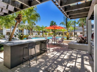 An outdoor patio area at The Braxton in Palm Bay, Florida