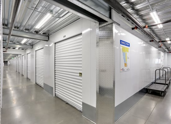 Clean hallways and interior storage units at A-1 Self Storage in San Diego, California