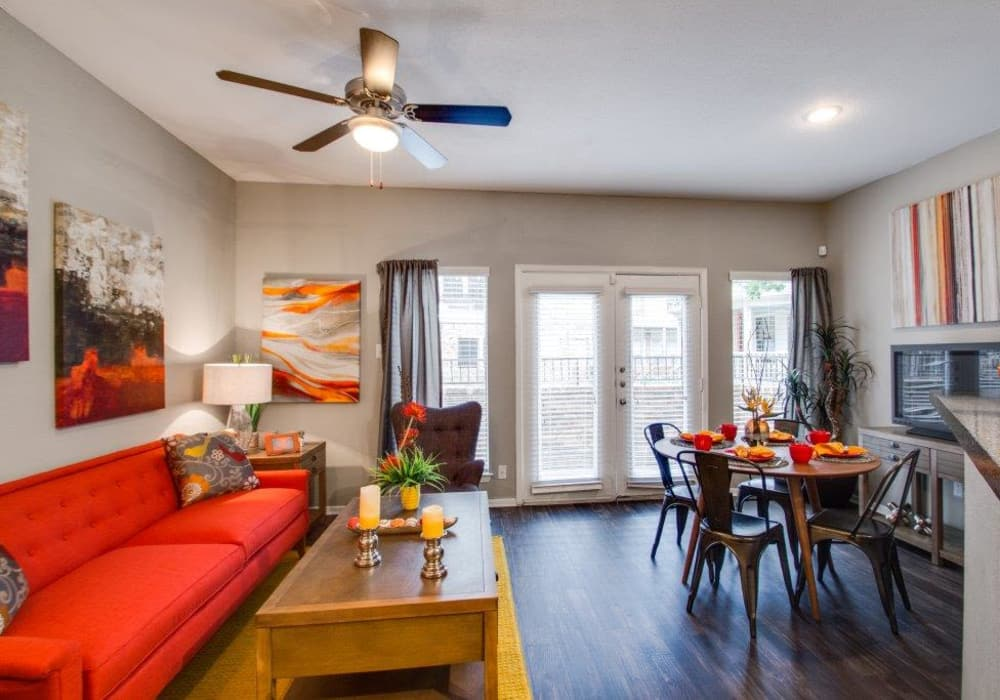 Open living room at Watermarke Apartments in Fort Worth, Texas