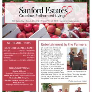 September Sanford Estates Gracious Retirement Living Newsletter