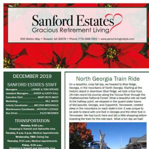 December Sanford Estates Gracious Retirement Living newsletter