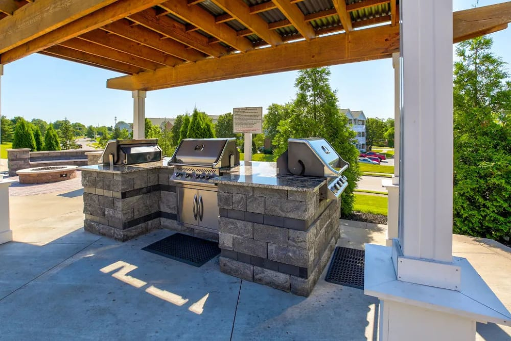 The covered barbeque station at Charleston Pines Apartment Homes in Florence, Kentucky