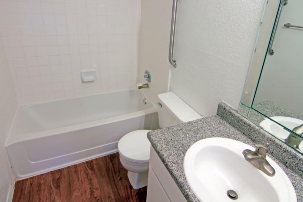 Bathroom at Meadow Park Apartments in Alvin, Texas