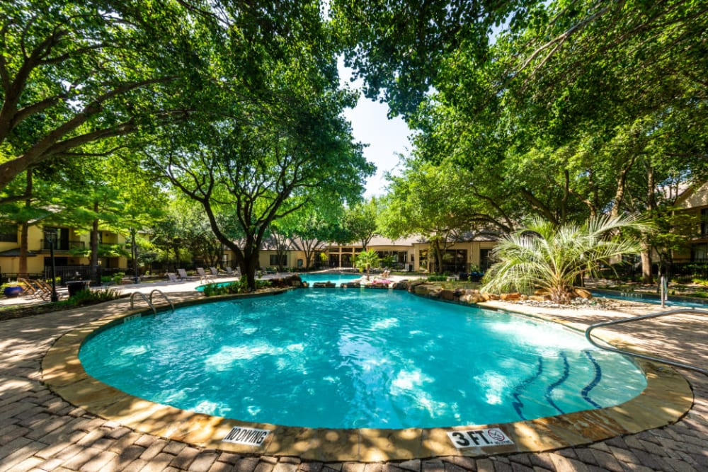 Shallow area of pool sectioned off with rocks at Marquis at Waterview in Richardson, Texas