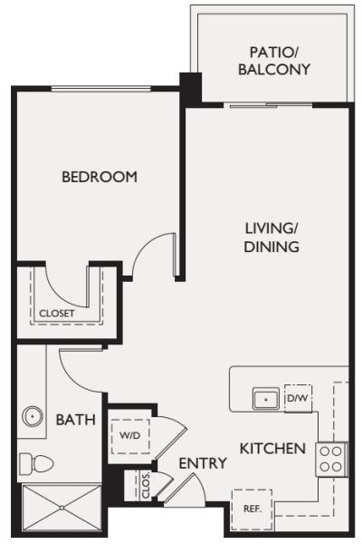 One bedroom floor plan at McDowell Village in Scottsdale, Arizona