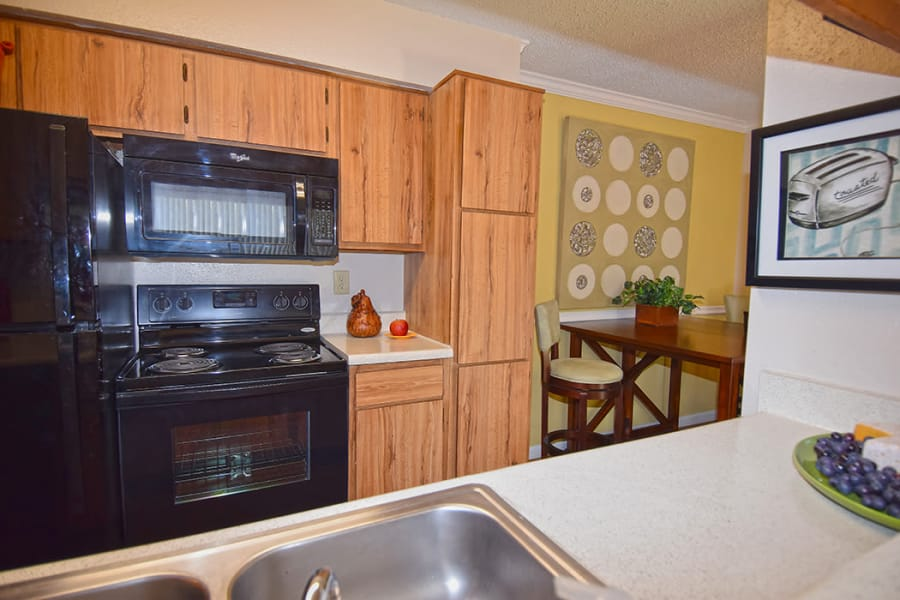 Modern kitchen at The Lodge on El Dorado in Webster, Texas