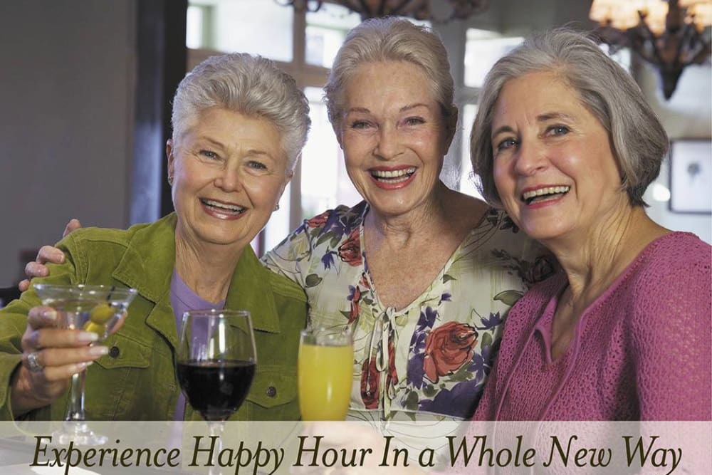 Brightwater Senior Living of Capital Crossing friends enjoying happy hour
