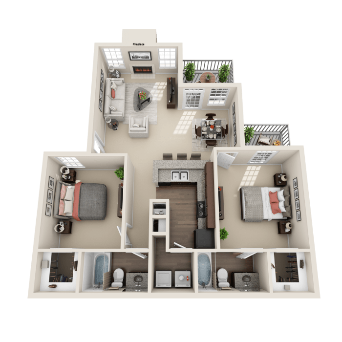 2 Bedroom Floor Plan - Salerno A Layout