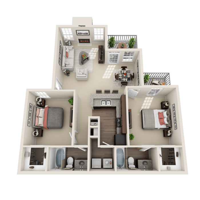 2 Bedroom Floor Plan - Salerno B Layout