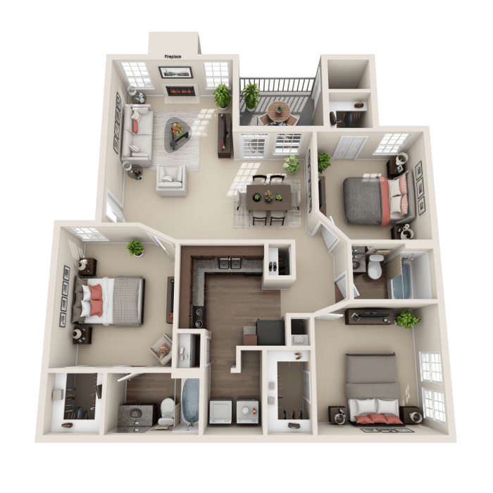 3 Bedroom Floor Plan - Venice B Layout