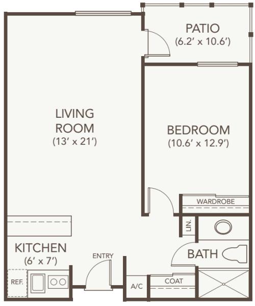 Assisted Living One Bedroom at Oakmont Gardens in Santa Rosa, California