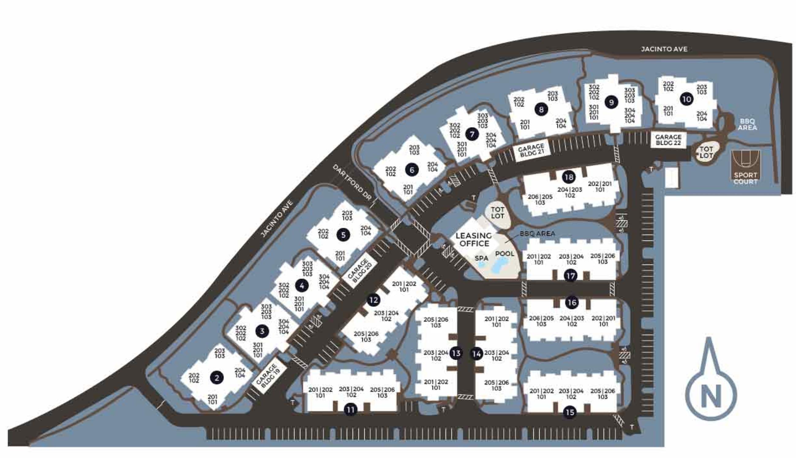 Community site map for Wolf Ranch Condominium Rentals in Sacramento, California
