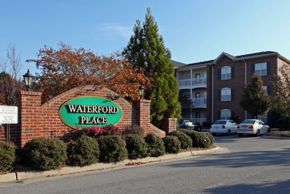 Front entrance at Waterford Place in Greenville, North Carolina