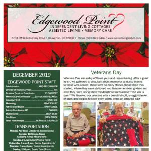December Edgewood Point Assisted Living newsletter