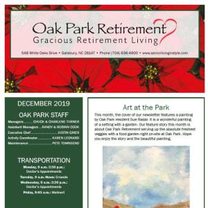 December Oak Park Retirement newsletter