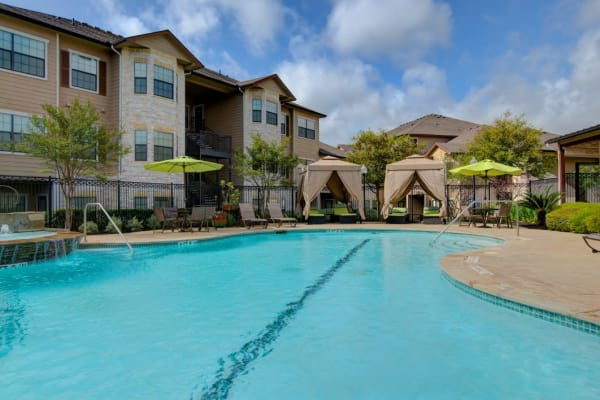 Beautiful swimming pool at Park Hudson Place in Bryan, Texas