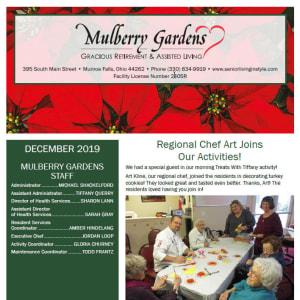 December Mulberry Gardens Assisted Living Newsletter