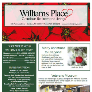 December Williams Place Gracious Retirement Living newsletter