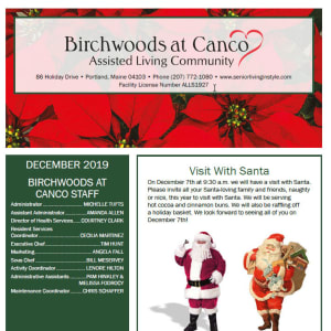 December Birchwoods at Canco Assisted Living newsletter