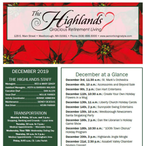 December The Highlands Gracious Retirement Living newsletter