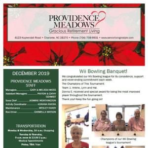 December Providence Meadows Gracious Retirement Living newsletter