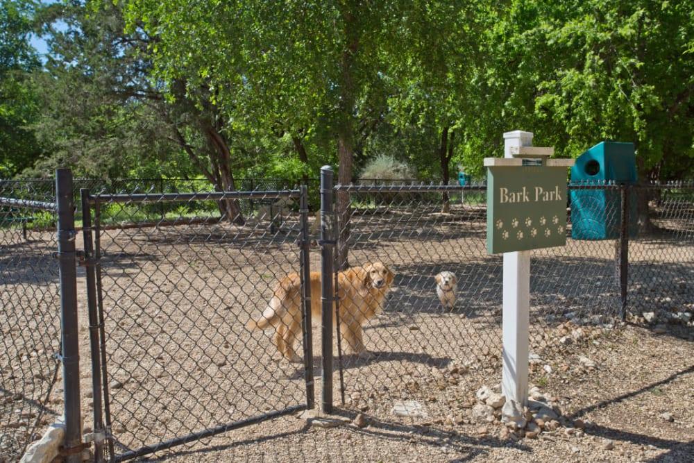 Onsite dog park at Marquis Bandera in San Antonio, Texas