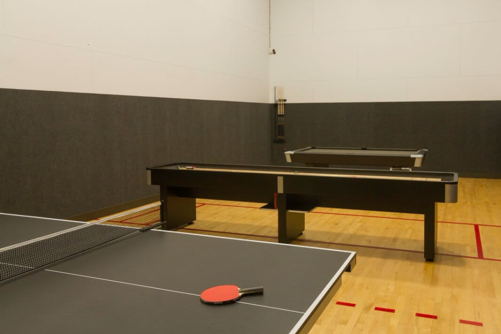 ping pong at Irving Schoolhouse Apartments