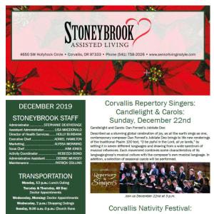 December Stoneybrook Assisted Living newsletter