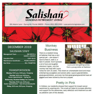 December Salishan Gracious Retirement Living newsletter