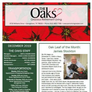 December The Oaks Gracious Retirement Living newsletter